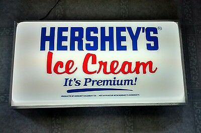 Vintage Hersheys Ice Cream Double Sided Hanging Lighted Advertising Sign