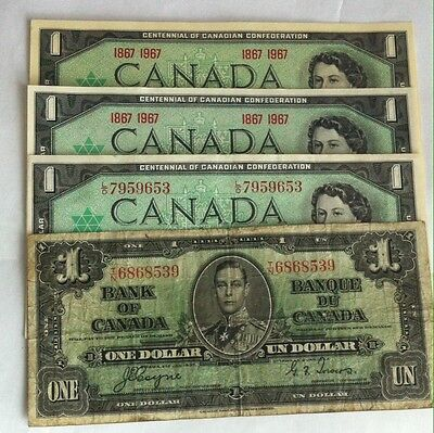 1937 1967 Canada One Dollar Bank Notes   *lot Of 4*  Item # 33-328