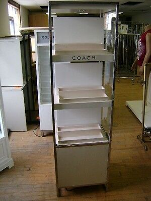 Coach White Retail Led Lighted Tall Column  Display Case
