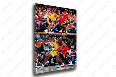 Michael Jordan VS Kobe Bryant Sports Painting Canvas Print Art Home Decor Wall