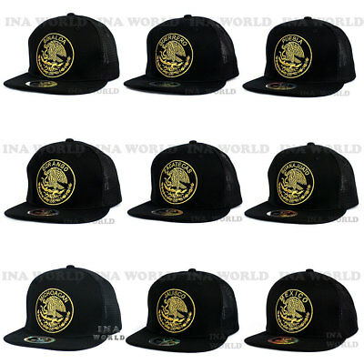 Mexico hat Mesh Snapback Federal Logo State Gold Embroidered Baseball cap-  Black 3452edebe165