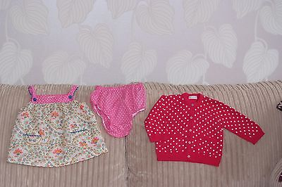 Baby Girls MONSOON 2 Piece Outfit and MAMAS and PAPAS Cardigan - age 9-12months