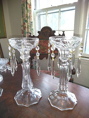 Fabulous Pair Victorian Style Lead Crystal Candlesticks Holders With Prisms