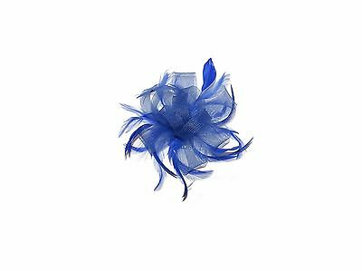 **New** Royal Blue Cream Hair Fascinator On Clear Comb For Weddings Races Hat