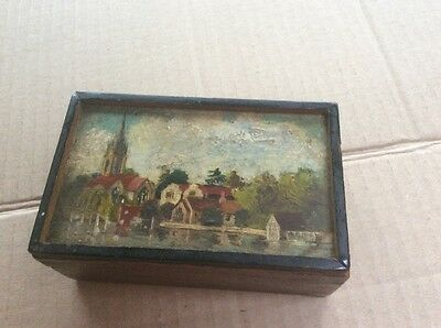 Small Wooden  Box With A Hand Painted Village Scene Trinket Box