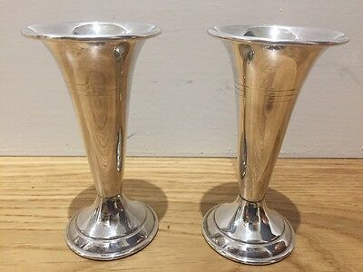Pair Of English Vintage Silver Plated Trumpet Posy Vases 4 Inches High