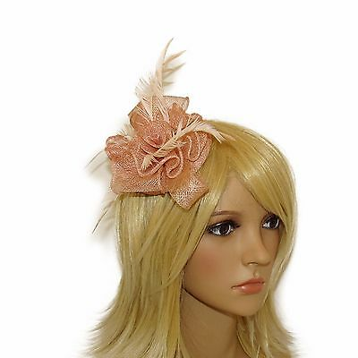 **New** Nude Hair Fascinator With Clip And Brooch For Weddings Races Hat