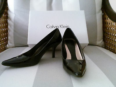 Calvin Klein Dolly Black Patent Leather Pointed Toe High Heel Pumps size 5
