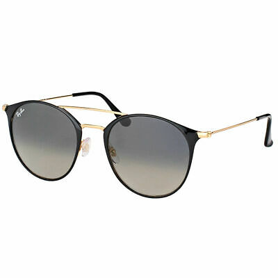 New Ray-Ban RB 3546 187/71 49mm Gold Black Round Sunglasses Grey Gradient Lens