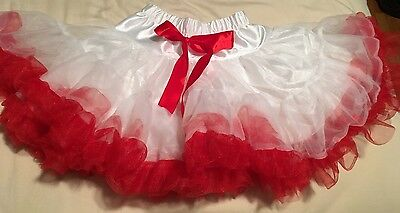 Girls Small Red And White Tutu Dress Up Party Tulle Bow Pageant