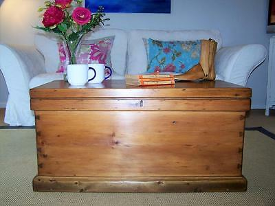 Large Antique Pine Chest Restored Vintage Trunk COFFEE TABLE Blanket Toy Box