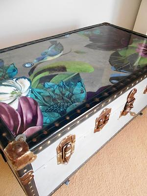 Vintage Trunk & KEY Unique Refurbished Chest Wooden COFFEE TABLE Blanket Box