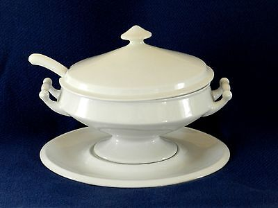 English Ironstone Footed Tureen, Under-platter, and Ladle