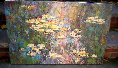 Large Oil On Canvas  Abstract Signed M.rost-Thick Impasto