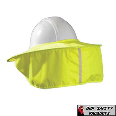 Safety Hard Hat Neck Shield / Helmet Sun Shade Hi Vis Construction - Yellow