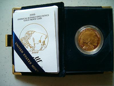 2006-W 1 oz Proof Gold American Buffalo Coin Outer Box Satin Case & Certificate