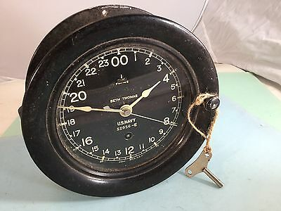 NICE RARE SETH THOMAS U.S. NAVY SHIPS CLOCK 24HR WW2 BAKELITE WITH KEY  works