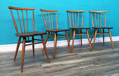 Very Stylish Retro Vintage Set Of Four Blonde Ercol Dining Chairs