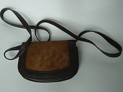 Small Brown Suede Genuine Leather Shoulder Strap Bag Wallet Purse
