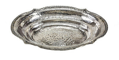 American Arts & Crafts Sterling Silver Hand Hammered Oval Serving Dish, c1930
