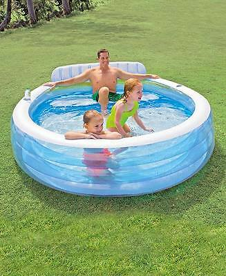 Inflatable Family Lounge Pool W/Built In Seat With Back & Headrest Drink Holder