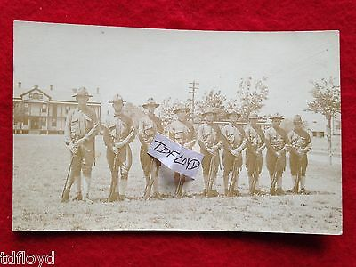 Rppc WWI US Soldiers Squad in Line Antique Real Photo Postcard Unposted