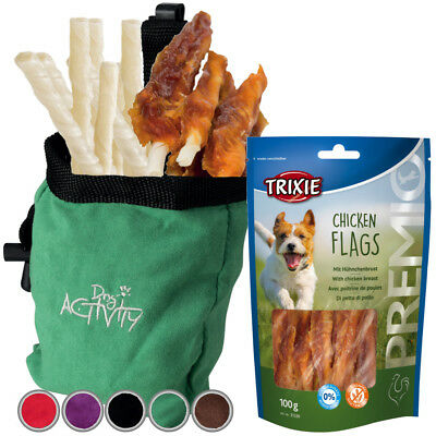 Trixie Dog Snack Bag suede look Incl Treats PREMIO Chicken Flags, Chew Sticks