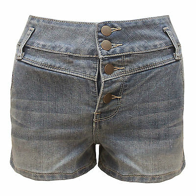 Denim Donna Slavato A Vita Alta 4 Bottoni Pantaloncini Hot Ladies Shorts