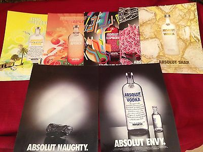 (7) 2014-2016 Absolut Vodka  print ads    Great to frame!