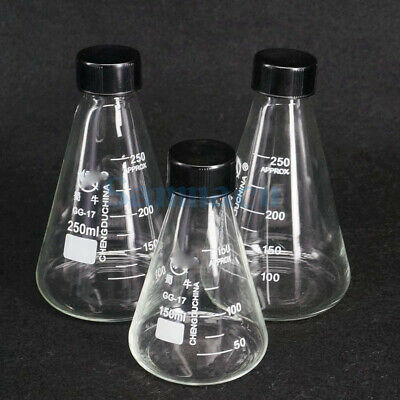Glass 50-3000ml Conical Erlenmeyer Narrow Mouth Screw Cap Flask Lab Glassware