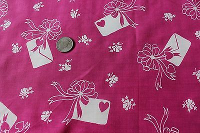 Vintage Rayon Hearts, Bows & Love Letter Conversational Design Fabric c1938-1940