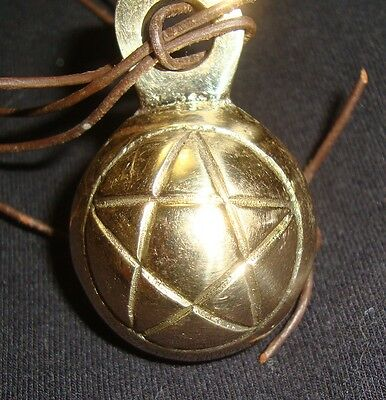Beautiful Solid Brass Pentacle Bell on Leather Cord for Rituals