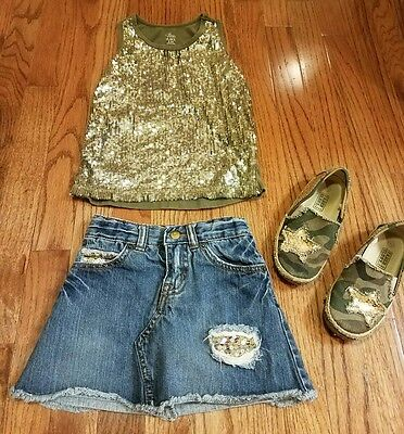 Girls green gold sequins outfit 2 pc set shoes Children's Place size 5 6