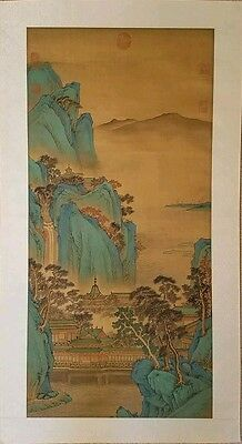Very Fine Chinese Landscape Painting Scroll Mountains Antique