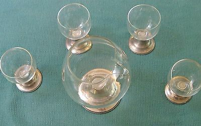 Alvin Sterling Silver Cocktail Pitcher and 4 goblets - Pre WWII