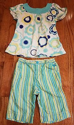 Girls blue white yellow summer short shorts outfit set size 5