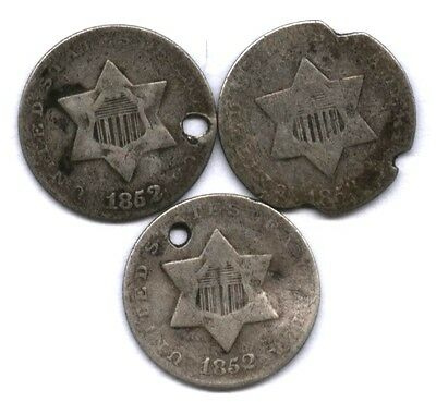 3 Three Cent Silvers * 2 1852 & 1853 * 3 Higher Value Type Coins !! * Affordable
