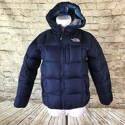 The North Face Boys Reversible 550 Puffer Jacket Coat Blue Plaid Size 14/16 Down