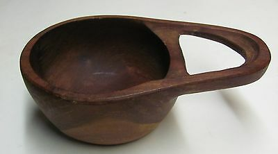 Hand Carved Wood Bowl with Handle Folk Art