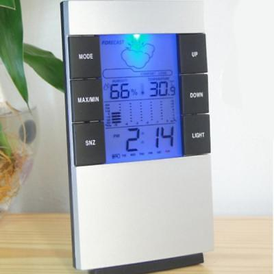 LCD Digital Hygrometer Thermometer Humidity Meter Weather Forecast Clock Alarm
