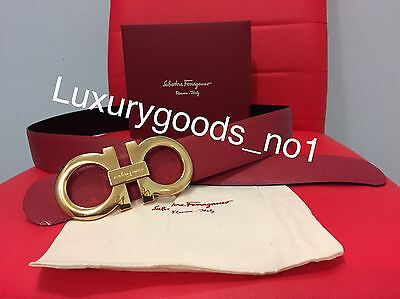 New Authentic Men's Red/black Reversible Ferragamo Belt 90cm  Waist 30-32