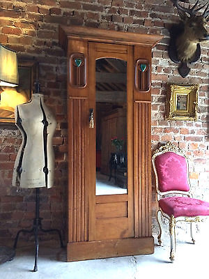 Stunning Antique Arts & Crafts Single Wardrobe Walnut Edwardian Armoire Mirror