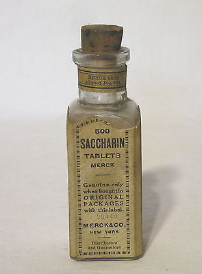 "Antique Original ""Saccharin"" Tablets Glass Bottle w/Cork Paper Label Merck & Co."