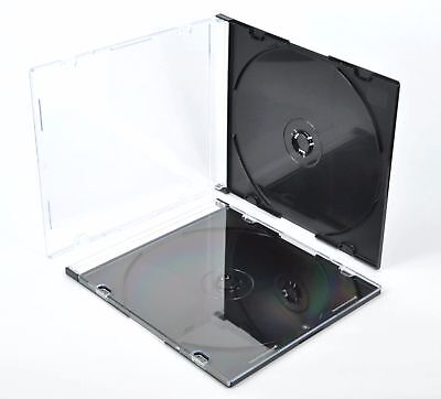 SLIM 5.2mm jewel CD Cases with Tray single Disc case BLACK CLEAR MIX COLOUR APC
