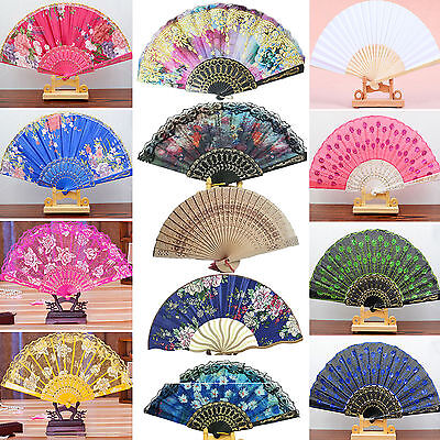 YH Lady Spanish Style Flower Silk Lace Folding Hand Held Fan Wedding Dance Party