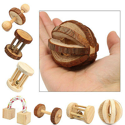 Dumbell Unicycle Bell Roller Pet Chew Toy for Guinea Pigs Rat Rabbits Intriguing