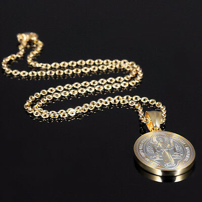 St Saint Benedict Exorcism Protection Medals Catholic Cross Gold Plated Pendant