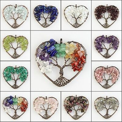 Natural Amethyst Labradorite Lapis Lazuli Chip Beads Tree of Life Heart Pendant