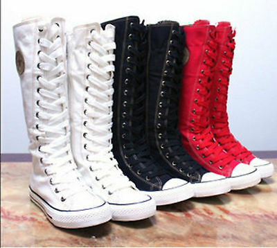 Women Girl PUNK EMO GOTHIC Shoes Sneaker Zip Lace Up Canvas Boots Knee High SALE