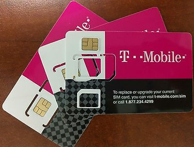 T-mobile PRE-ACTIVATED Prepaid SIM Card No Contract PAYGO $3/month Plan